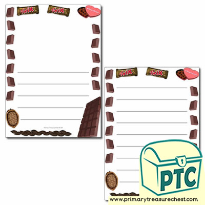 Chocolate Themed Page Borders/Writing Frames (wide lines)