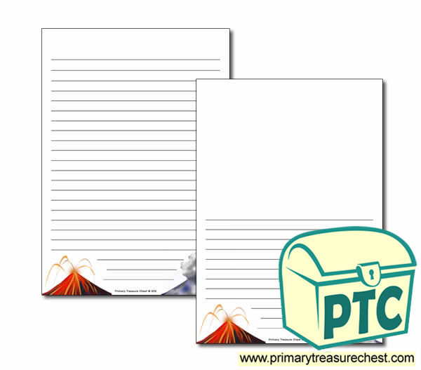 Volcano Page Border Writing Frame Narrow Lines Primary
