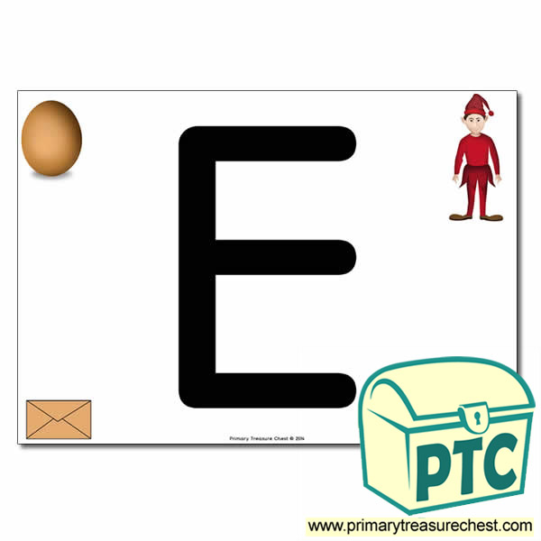 'E' Uppercase Letter A4 poster with high quality realistic images