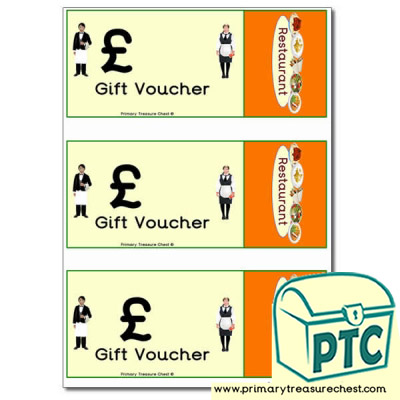 Restaurant Role Play Blank Vouchers