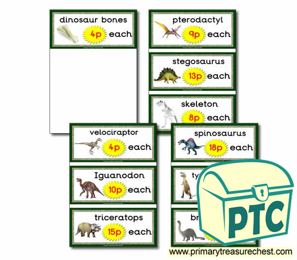 Dinosaur Role Play Shop Price Cards