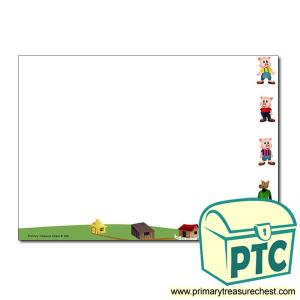 3 Little Pigs Themed A4 Sheet Plain Border In Landscape
