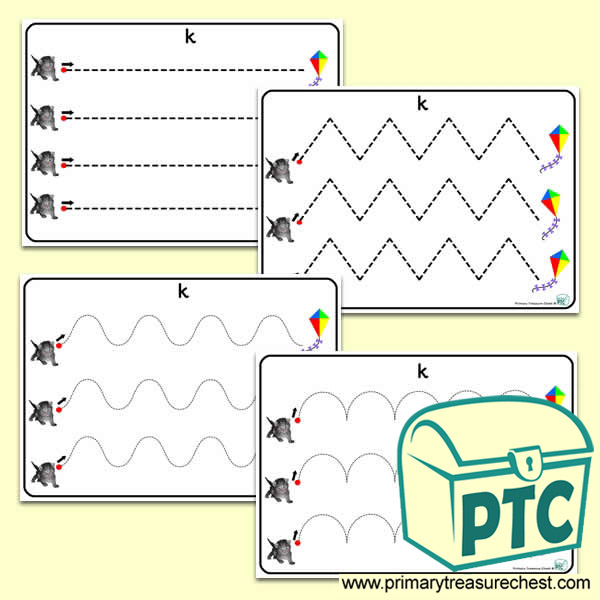 'Kk' Themed Pre-Writing Patterns Activity Sheets