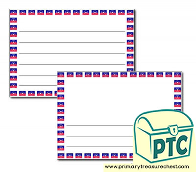Juneteenth Flag Landscape Page Border/Writing Frame (wide lines)