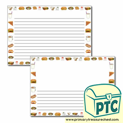 Fast Food Takeaway Themed Landscape Page Border/Writing Frame (narrow lines)