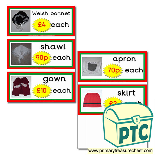 Welsh Costume Prices Flashcards with Photos (21p - £99)