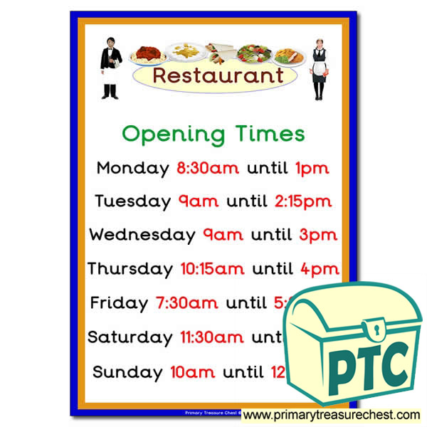 Restaurant Role Play Opening Times (Quarter & Half Past)