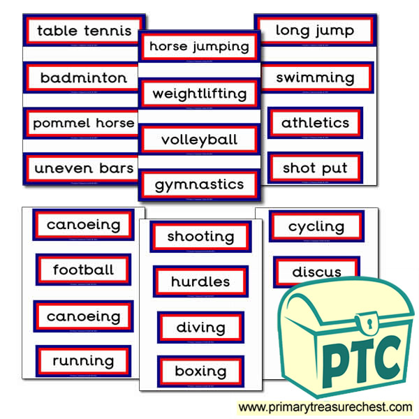Athletic Events Themed Display Words