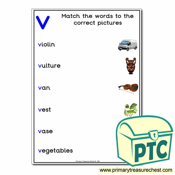 Match the 'v' Themed Words to the Pictures