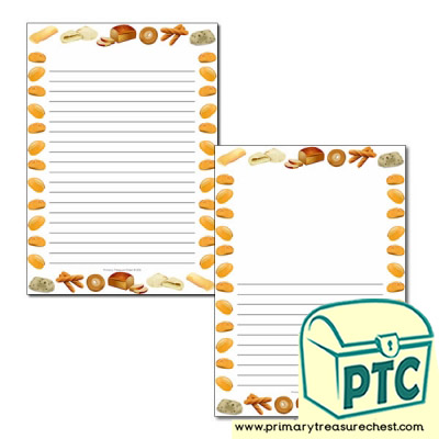 Bread Themed Page Borders/Writing Frames (narrow lines)