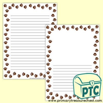 Animal Paw Print Page Border /Writing Frame (narrow lines)