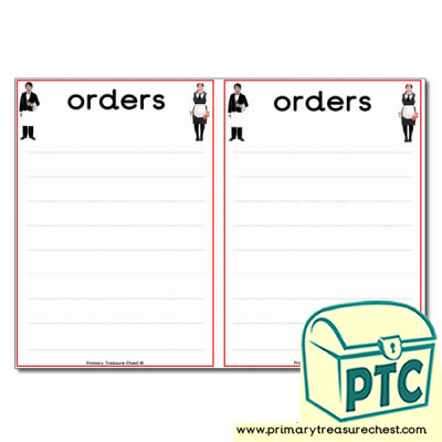 Restaurant Role Play Order Pad (2 per A4)