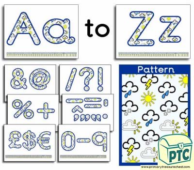 Weather Symbols themed Display Lettering