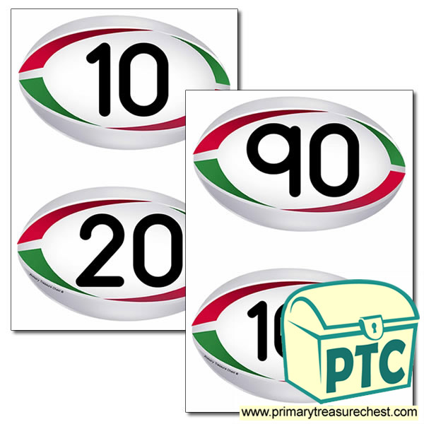 Rugby Ball Themed Numbers 10 to 100 (x10)