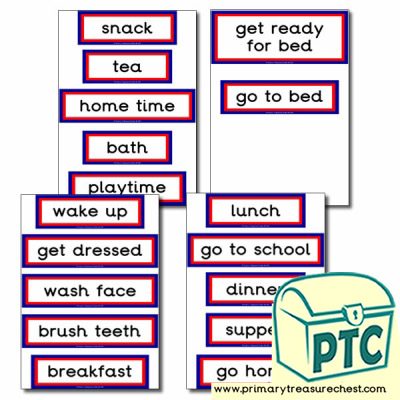 Daily Routine Themed Display Words