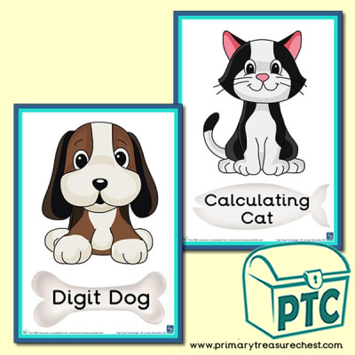 Digit Dog & Calculating Cat Themed Posters