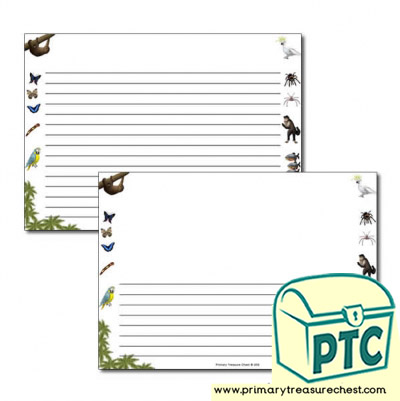 Rainforest II themed Landscape Page Border/ Writing Frames (narrow lines)