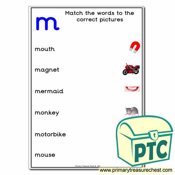 Match the 'm' Themed Words to the Pictures
