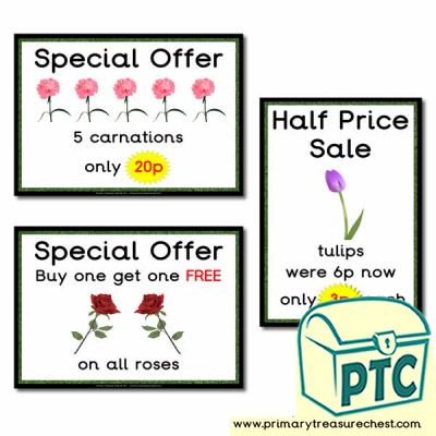 Role Play Garden Centre Flowers Special Offers Posters (1-20p)