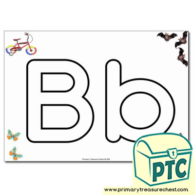 'Bb' Upper and Lowercase Bubble Letters A4 Poster, containing high quality, realistic images