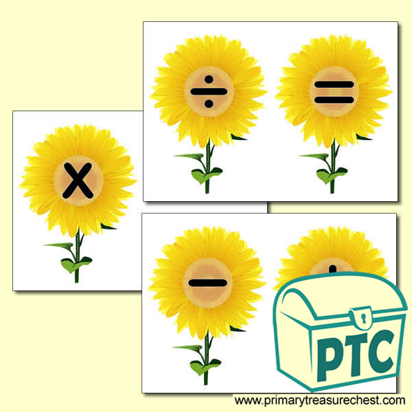 Sunflower Number Line Maths Symbols