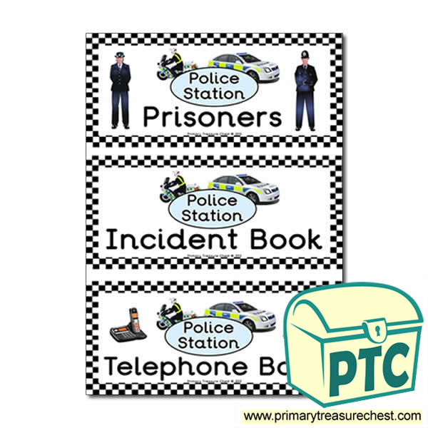 Police Station Role Play Book Covers / Labels
