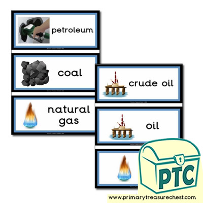 Fossil Fuels Themed Flashcards