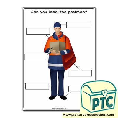 Postman Worksheet 'Can you label the postman'