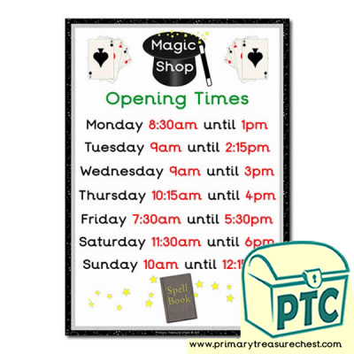 Magic Shop Role Play Opening Times Sign (Quarter & Half Past)