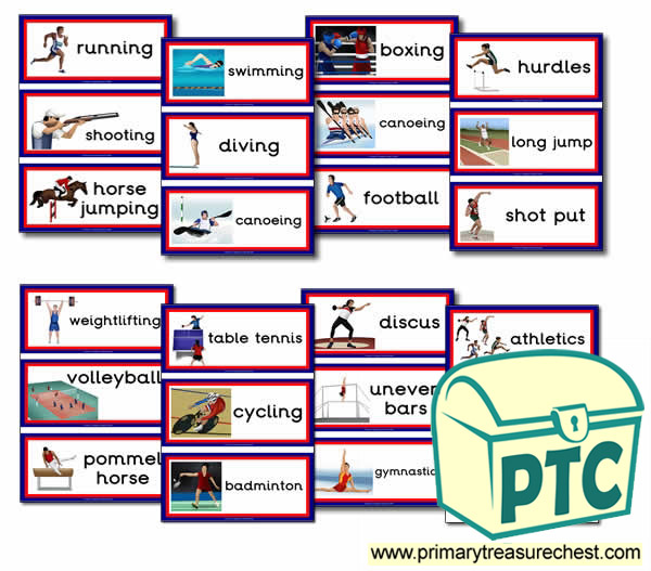 Athletic Events Themed Flashcards