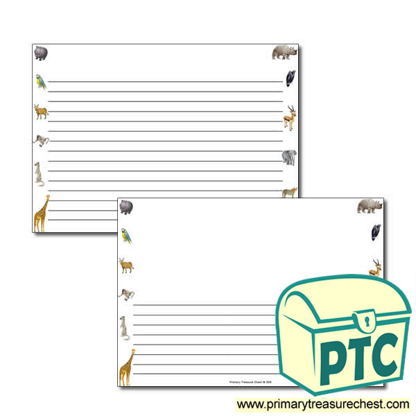 Animals Themed Landscape Page Border/Writing Frame (narrow lines)