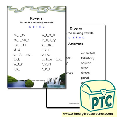 River Themed Missing Vowels Worksheet
