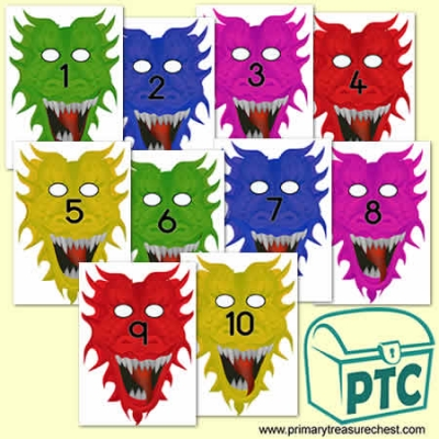 Dragon Role Play Number Masks 1-10