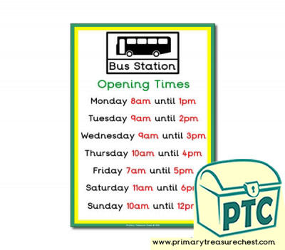 Bus Station Role Play Opening Times (O'clock Times)