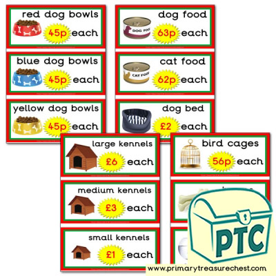 Pet Shop Role Play Equipment Prices Flashcards (21p to £99)