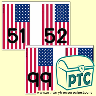 US Flag Number Line Bunting - American Teaching Resources - K-12 printables