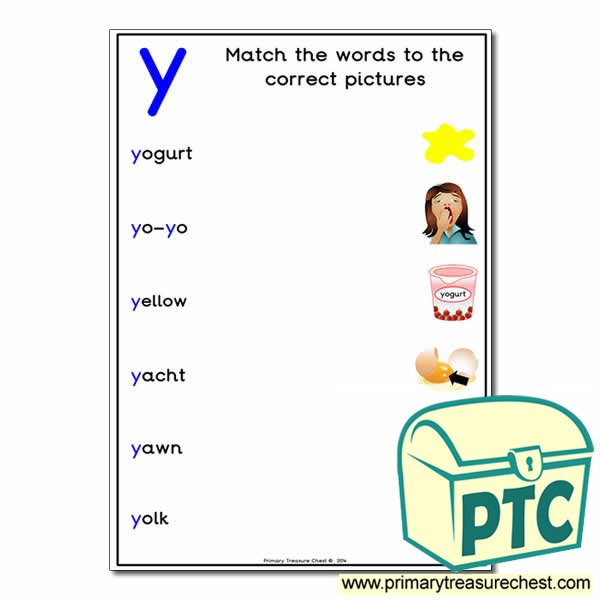 Match the 'y' Themed Words to the Pictures