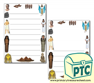 Ancient Egypt Themed Page Border/ Writing Frames (wide lines)