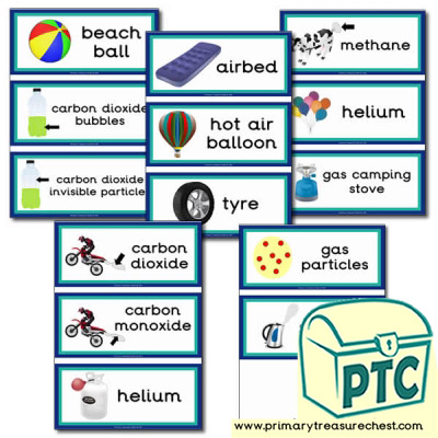 Solids Liquids and Gases Themed Flashcards