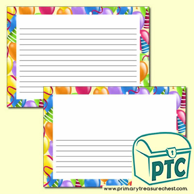 Balloon Themed Writing Frames (Narrow Lines) - Landscape