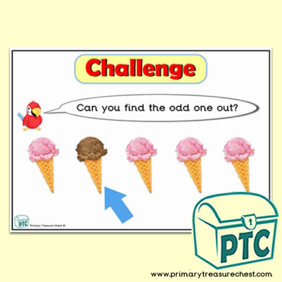 Ice Cream themed Odd-One-Out Challenge A4 Poster