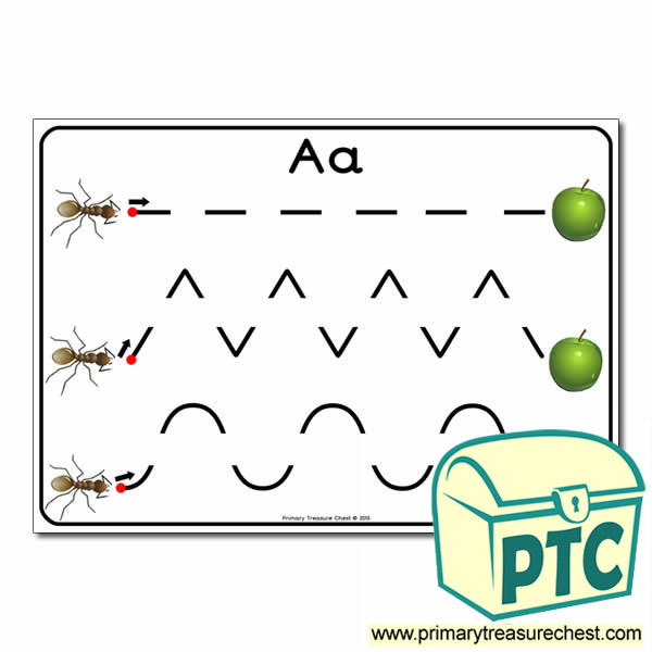 'Aa' Themed Pre-Writing Patterns Activity Sheet