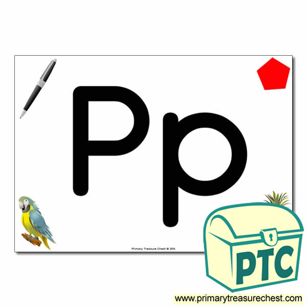 'Pp' Upper and Lowercase Letters A4 posterposter with realistic images