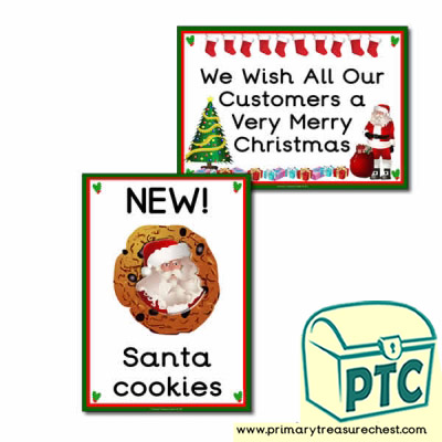 Christmas Cafe Role Play Signs