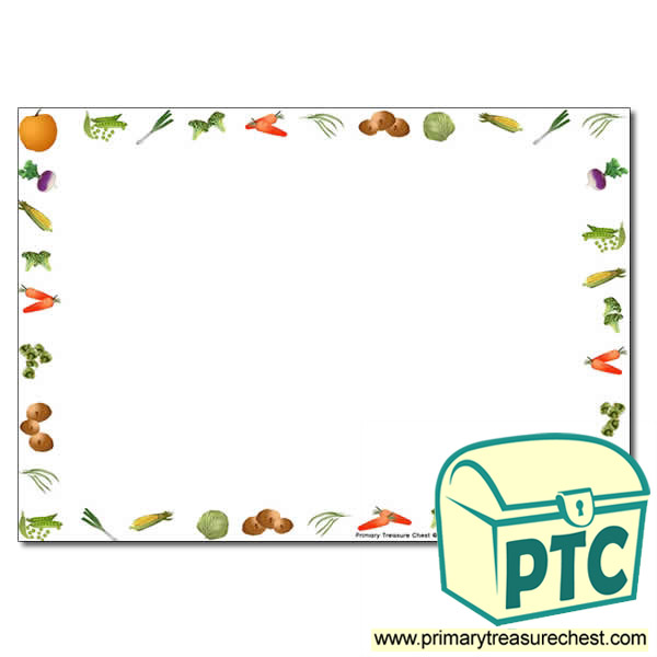 Vegetable Themed Landscape Page Borders/Writing Frames (no lines)