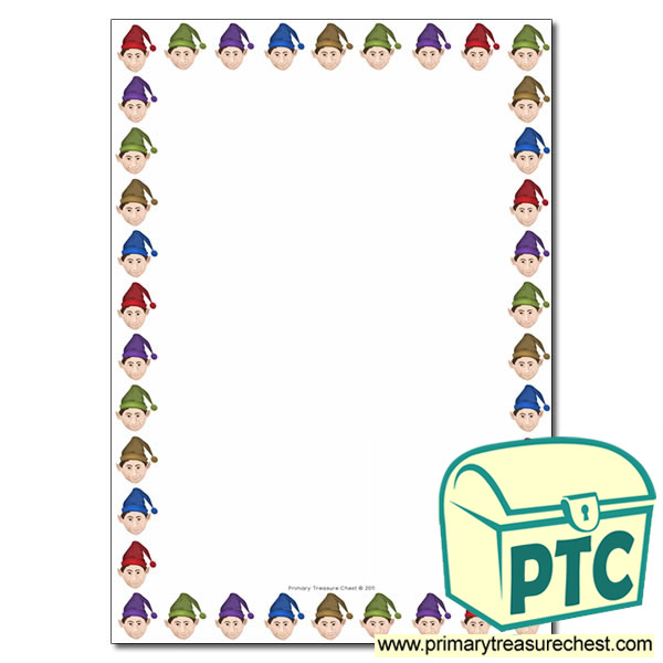 Elves Themed Border Writing Frame No Lines Primary