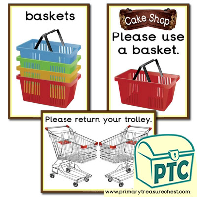 Cake Shop Basket / Trolley Signs