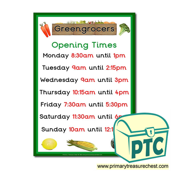Greengrocers Role Play Opening Times Poster (Quarter & Half Past)