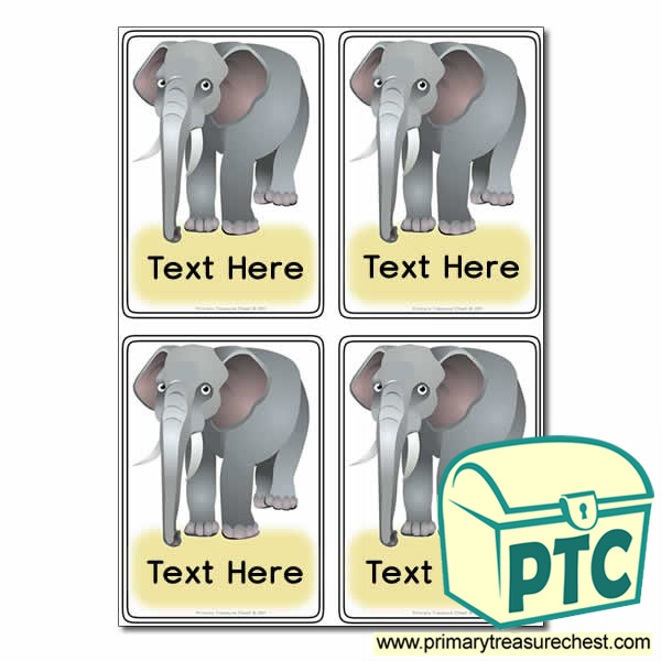 Elephant Themed Registration Name Cards