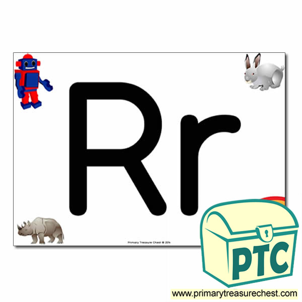 'Rr' Upper and Lowercase Letters A4 posterposter with realistic images